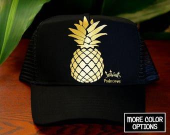 Pineapple Trucker Hat / Island, mesh, Christian hat, summer, fruit, vacation, run, women's hat, women's trucker hat, Christian trucker hat