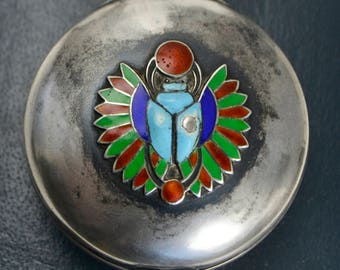 Victorian 900 SILVER & ENAMEL Egyptian Winged Scarab Beetle Antique Patch / Pill Box Pot