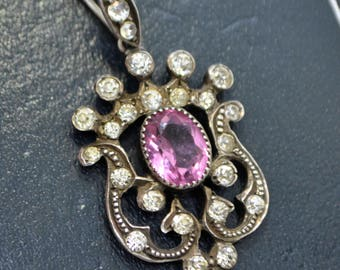 Victorian SOLID SILVER Sparkly Pink & Diamond White PASTE Crowned Pendant