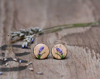 Faux Wood Lavender Earrings, Lavender Jewelry, Titanium Earrings, Hypoallergenic Stud Earrings, Vintage brown studs
