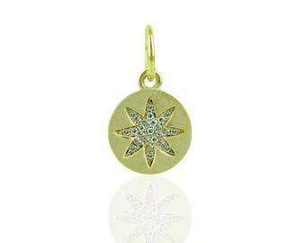 "14K Yellow gold diamond ""STAR""  disc charm"