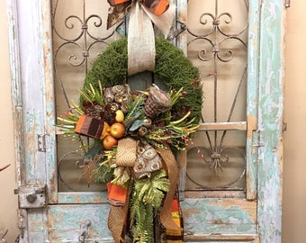 Fall Wreath, Fall Door Wreath, Thanksgiving Wreath, Moss Wreath