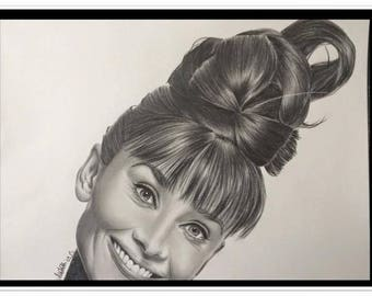 "pencil portrait graphite ""Audrey Hepburn"""
