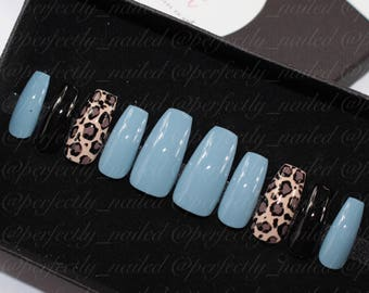 Dusky Blue and animal/leopard print • Handpainted False Nails • Fake Nails • Press on Nails • Stick on Nails