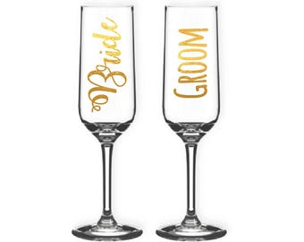 Wedding champagne glass, bespoke champagne glass, glassware, wedding gifts, bride and groom, champagne flute, wedding gifts
