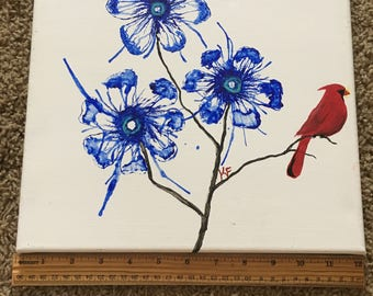 Blue Spring Flowers and Red Cardinal Acrylic Painting