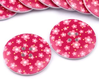 2 wooden buttons with flowers CA. 38 mm in Berry