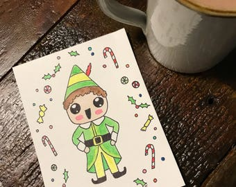 Buddy the Elf Christmas Watercolor