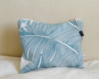 Teal and white palm leaf canvas pouch