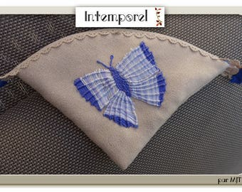 """Kit, """"blue butterfly"""" embroidered on suede hand purse"""