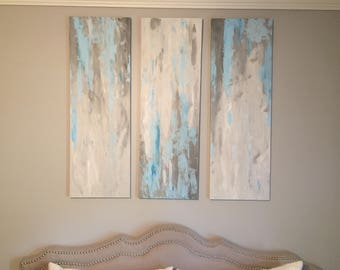 Abstract acrylic paintings with blues and greys