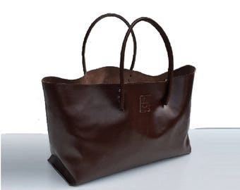 XXL Leather Shopper Ledershopper Large leather case brown used look handmade