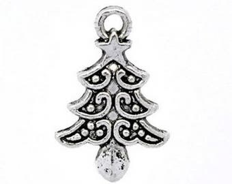 Set of 10 charms of Christmas trees finely worked silver metal 20 mm x 13 mm