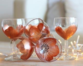 """6 Verres-Fleurs à pied """"Flora boule gold rose"""",  peints main levée C.Kim"""