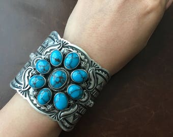 Beautiful Handmade Sterling Egyptian Turquoise Cuff Signed Darrin Livingston