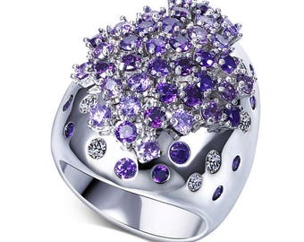 Extraordinary Large Crystal rings with AAA Cubic zirconia stones