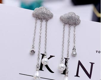 White cubic zirconia cloud earrings simulated pearl