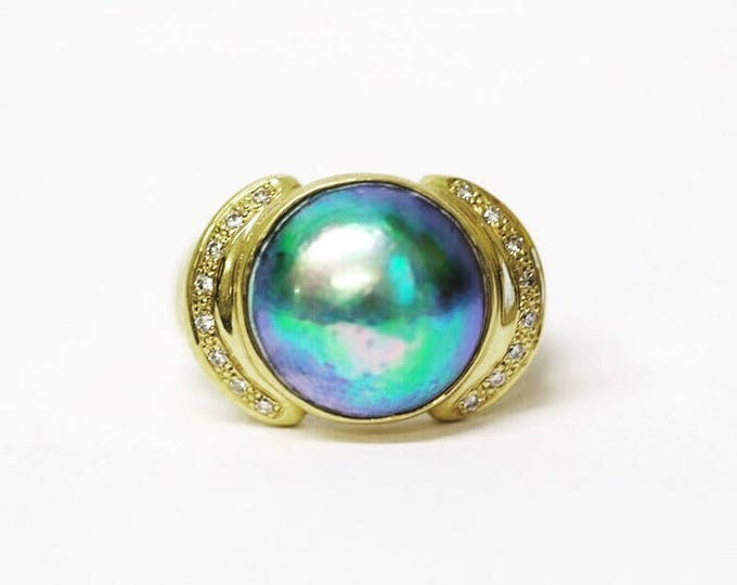 Featured listing image: 18ct gold New Zealand paua pearl ring
