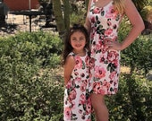 Mother Daughter Matching Dress | Mommy and Me Outfits | White and Pink Floral Dress | Floral Dress | Matching Family Outfits