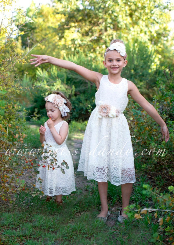 "Ivory Flower Girl Dress, White Flower Girl Dress, ""The Audrey"" Ivory / White Lace Girl Dress, Rustic Ivory Flower Girl, Junior Bridesmaid"