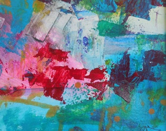 Acrylic on paper on the theme of the abstract