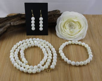 "24"" Mother of Pearl Necklace, Bracelet & Earring Jewelry Set"