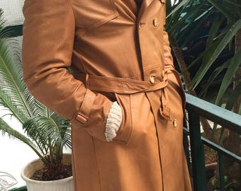Vintage German Leather long coat|Tobacco brown|Extra rare|Gift for him|Size Large|60s'