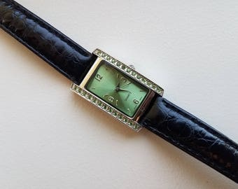 Green Rhinestone Watch with Black Band