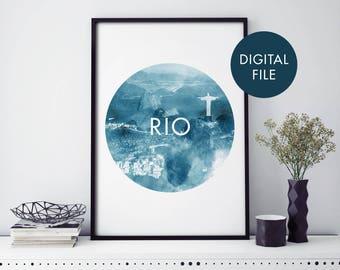 Rio de Janeiro, Brazil Watercolour Print Wall Art | Print At Home | Digital Download File
