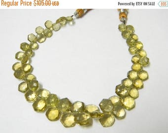 9 inch strand -- 6 - 9 mm approx-- Fine Quality Champagne Quartz Faceted Hexagon Briolettes