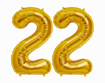 22 Balloons || 22nd birthday party decorations jumbo letter balloon cheers to 22 years loved gold pink rose gold silver