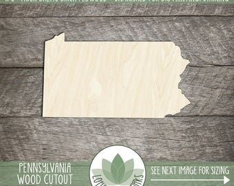 Pennsylvania State Wood Cut Shape Shape, Unfinished Wood Pennsylvania Laser Cut Shape, DIY Craft Supply, Many Size Options