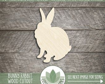 Bunny Rabbit Wood Cut Shape, Unfinished Wood Easter Bunny Laser Cut Shape, DIY Craft Supply, Many Size Options