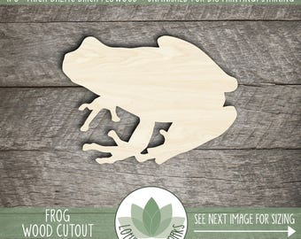 Wood Frog Laser Cut Shape, DIY Craft Supplies, Many Size Options, Wood Frog Cut Out, Kid Room Wall Decor