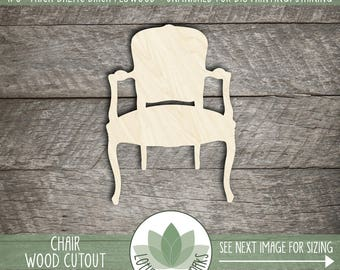 Wood Chair Shape, Unfinished Wood Chair Laser Cut Shape, DIY Craft Supply, Many Size Options