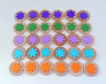 Wooden Discs Colour Matching Flowers, Learning, Teaching Aid, Montessori Classroom Resource, Educational Activity