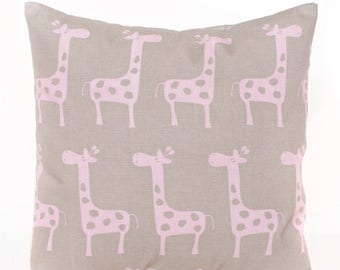 SALE ENDS SOON Pink Giraffe Pillow Cover, Pink Throw Pillows, Pink and Brown Nursery Pillows, Baby Pillow, Girls Room Decor, Soft Pink