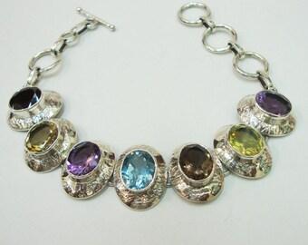 Stunning 925 Sterling Silver Multi-Gemstone 28 Grams Bracelet For