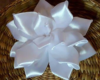 White satin wedding urn ornament, hair, tutu flower applique, fashion accessory and tutu dress