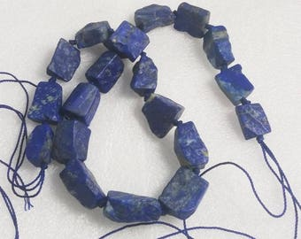 Handmade Blue CHUNKY Hammer cut Lapis Lazuli Rough Beads necklace Afghanistan