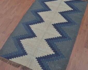 Geometric Wool Jute Rug   4x6, Moroccan Rug, Area Rug, Modern Rug,