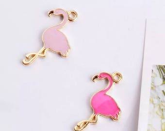 FLAMINGOS Set of 5 pieces - Charm Beads Pendant for DIY