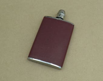 """8oz Hip Flask - Red Leather - Stainless Steel - """"Equestrian"""" - Vintage Hip Flask"""