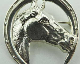 Sterling Silver Equine Horse Horseshoe Pin Brooch