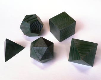 Platonic Solids with Antique Green and Silver Finish