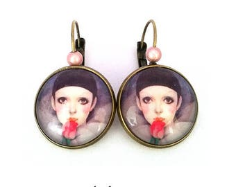 """my friend Pierrot"" earrings • dangle earrings bronze • romantic • cabochon • earrings fancy"