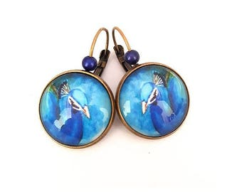 Earrings Peacock - Leverback cabochon, bronze, retro, gift for her