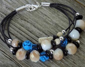 Multi-Strand Blue and White Bracelet, Black Leather Cord Bracelet, Glass and Acrylic Beaded Bracelet, Sterling Silver
