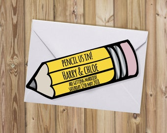 Pencil Us In Save the Date Card   Personalised   Hand Finished   With Envelopes