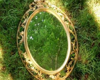 Hollywood regency mirror gold ornate large bedroom mirror golden homco 1962 mirror